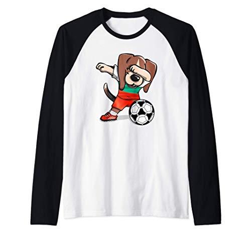 Dabbing Beagle Bulgaria Fútbol - Bandera búlgara Camiseta Manga Raglan