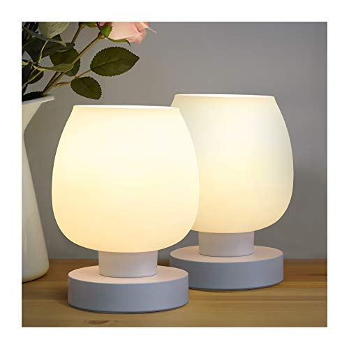 Modern White Bedside Table Lamp, Touch Control, White Opal Glass, LED Bulb, 3 Level, 3 Way...