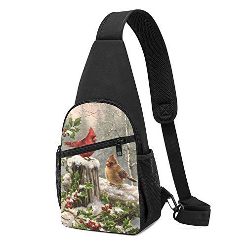 Mochila de la honda de la baya del acebo rojo de las ramas de la honda de la bolsa de hombro del bolso del hombro del bolso de viaje de senderismo, Black, Talla única,