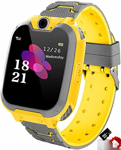 KEMING Reloj Inteligente para Juegos para niños: Reloj de música MP3, 7 Relojes para Juegos para niños, Adecuado para Regalos de cumpleaños de niños y niñas (Tarjeta D de 8GB Gratis) (Amarillo)