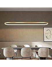 Bellastein Hanglamp, ovaal, eettafel, kantoorlamp, led-hanglamp, dimbaar, plafondlamp met afstandsbediening, modern ringdesign, kroonluchter voor eetkamer, keukenlamp, niet-verblindend