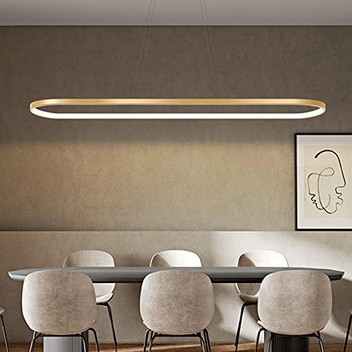 Bellastein Pendelleuchte Oval Esstisch Büro Lampen, LED Hängeleuchte Dimmbar Deckenleuchte mit Fernbedienung, Modern Ring Design Kronleuchter für Esszimmer Küchenlampe Blendfrei (L120cm, Gold)