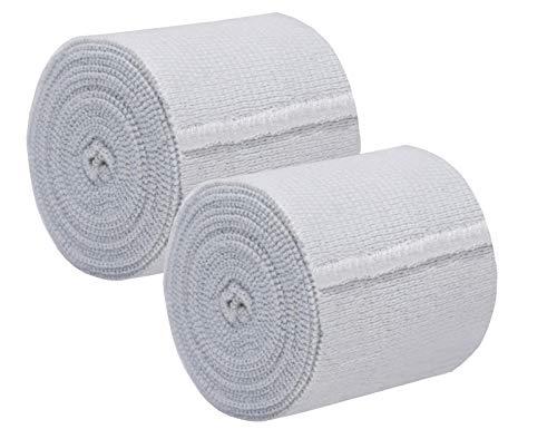 Nexskin 3' Organic Latex Free American Cotton - Comfort Elastic Bandage with Single Hook & Loop Closure - White, 2 Pack