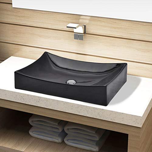 UnfadeMemory Lavabo Cerámica de Baño,Diseño Moderno y Contemporáneo,sobre el Mueble (Negro, 65,5x39x14cm)