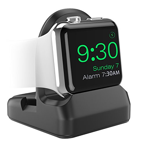 MoKo Compatible with iWatch Stand, TPU Charging Station Dock Support Nightstand Mode, Fit iWatch Series 6 5 4(40mm/44mm/42mm/38mm), iPhone 11 Pro Max/11 Pro/11 - Black
