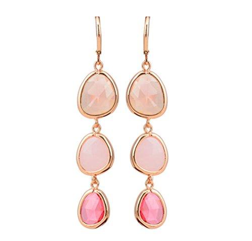 SunIfSnow, deliziosi orecchini a pendente verticale con tre gocce, cristalli colorati e Lega, colore: Pink, cod. 2016051111