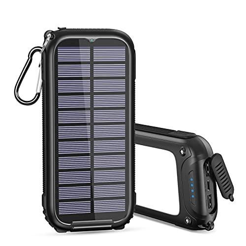 A ADDTOP Cargador Solar 26800mAh Power Bank Solare Portatil con 32 Leds Luce Batería Externa con 3 Puertos (Black)