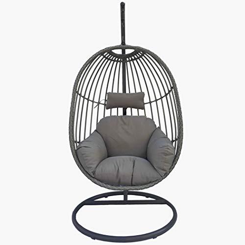 Confort24 Hangstoel met standaard en kussen, donkergrijs, tuinschommel voor buiten of binnen, schokdemper, zadel en schommel, huis, terras, tuin, terras rotan