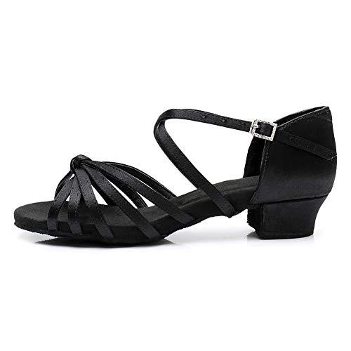 AOQUNFS Zapatos de Baile Latino Mujer Salsa y Bachata Zapatos de Baile de Salon,ZSZK-DJ-3.5,Negro,EU39