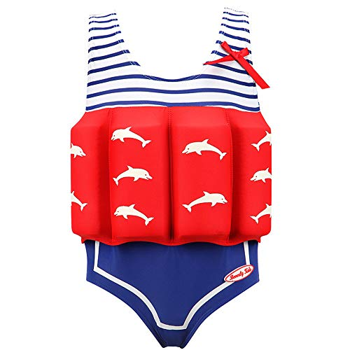 Children's Mädchen Abnehmbar Auftriebs Badeanzug Schnorchelanzug,Eva Baby Trainingshilfe Schwimmender Badeanzug Anfänger Spa Einteiliger Badeanzug,Geeignet für Kinder zum Schwimmen Lernen