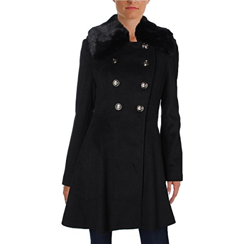 VIA SPIGA Women's Mid-Length Fit and Flare Double Breasted Wool Coat, Black, 8