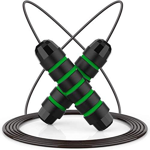 DPT - Corda per saltare da adulto, con manici in schiuma, a rapida velocità, con cuscinetti a sfera, per donne, uomini e bambini