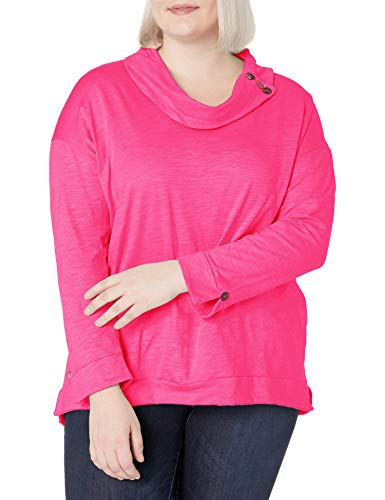 Neon Buddha Women's Anita L/S Cowl Neck Tee, Pink, 3X