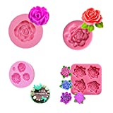 Ycncixwd 4 Stück 3D Rosenblätter Silikonform Fondant & Gum Seifenpaste Silikon Backform
