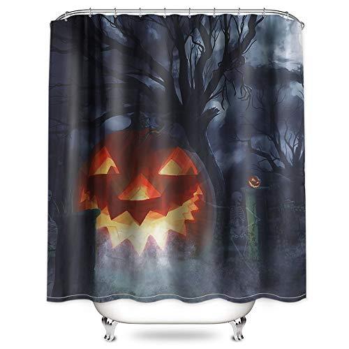 Hoomall Halloween Dekoration Duschvorhang 180x180cm Anti-schimmel Badezimmer Deko wasserdichte Waschbar Shower Curtain mit 12 Ringe 3D Grün Pflanzen