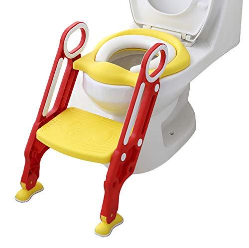 [TPOS]子供補助便座 便座カバー 組み立て簡単 高さ調節可能 柔らかいクッション おまる 尿漏れ防止 安心滑り止め 踏み台 ステップ付き トイレトレーニング 取外し可能 子供 折りたたみ式 (レッド&イエロー)