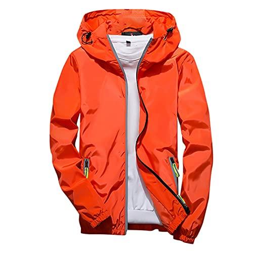 Sudadera con capucha de los hombres al aire libre deporte abrigo casual color puro más tamaño chaqueta reflectante cremallera