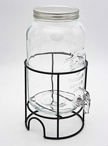 LEYENDAS Tarro con Grifo Dispensador de Cristal de 3L. Tapa de Metal. Base de Metal Negro Resistente. Medidas: 16.5x31.5 cm