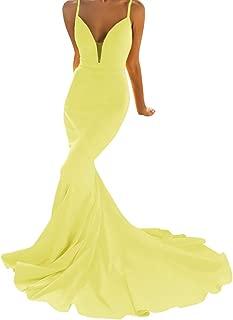 Jonlyc Women's Spaghetti Straps V Neck Mermaid Prom Evening Dresses Formal Gowns