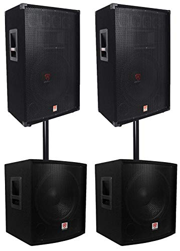 "(2) Rockville RSG15 15 3000w Passive DJ/Pro Audio PA Speaker+(2) 15"" Subwoofers"