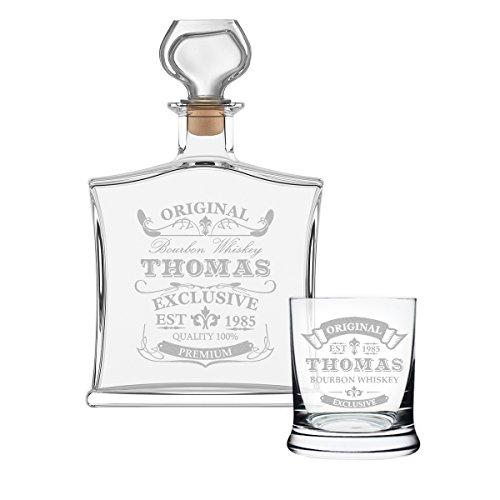 polar-effekt 2-TLG Geschenk-Set mit Whiskeyflasche und Leonardo Whiskyglas - Edle Glas-Karaffe Inhalt: 700ml - mit Gravur Geschenk für Männer - Motiv Original-Exklusive