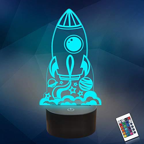 CooPark Rakete 3d nachtlicht für Kinder, 3D Kinder tischlampe, Dekorative LED-Leuchten 16 Farbwechsellampe mit Fernbedienung, Geburtstag Geburtstag für Mädchen oder Jungen