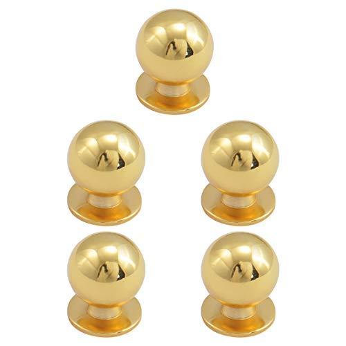 5 botones de aleación de zinc, pomo redondo, cajón, tirador de ladrillo, muebles, armario, cómoda puerta de repuesto, tono dorado