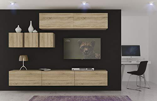 Home Direct Mediawand Modernes Wohnzimmer TV Möbel mit LED Beleuchtung Schrank Wohnschrank Schrankwand Wohnwand Toronto NX273 (AN273-17S-M15 1B (265cm))