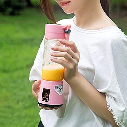 Batidora portátil batidora exprimidor taza 4 cuchillas, 13 oz fruta mezcladora con baterías recargables USB de 1500 mAh, taza desmontable