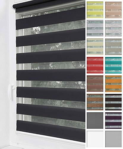 Home-Vision® Duo Rollo Klemmfix, Doppelrollo ohne Bohren mit Klämmträgern, Rollos für Fenster und Türen (Schwarz, B40cm x H150cm)