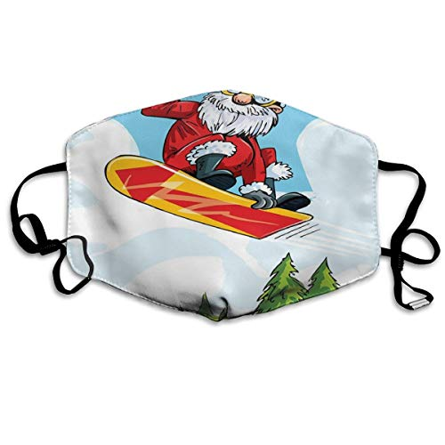 Cartoon Style Santa Doing A Jump On Snowboard Snow Covered Mountains and Pine TreesPrinting Safety Mouth Cover voor volwassenen