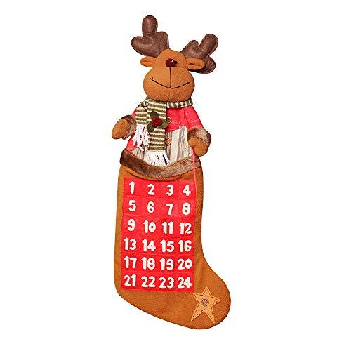 Y&M(TM) Countdown bis Weihnachten Kalender, Y & M 68,6cm Stoff Krippe Adventskalender Deer Sp103