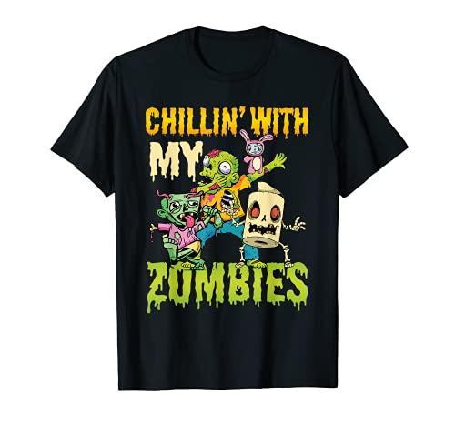 Halloween Chillin With My Zombies i Niño Chico Halloween Camiseta