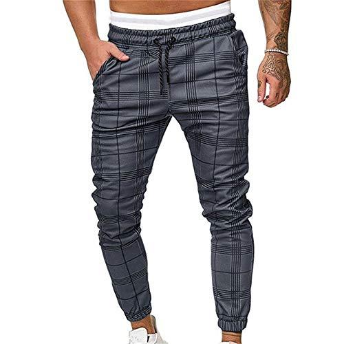 Pantalones Largos Deportivos De Jogging Running para Hombre, Morbuy Casual Tartán Pants Slim Fit Pantalón De Chándal con Bolsillos Cordón de Ajuste Cargo Trouser (S,Gris)