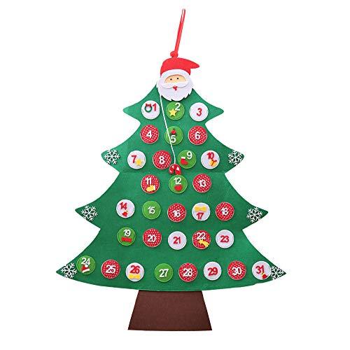 Watopi Calendario de adviento Cuenta atrás en Forma de árbol de Navidad, 31 días de diciembre, Sorpresa para niños, para Colgar en la Pared o árbol de Navidad