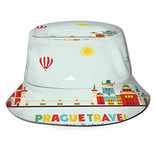 RUEMAT Sombrero Pescador Unisex,Ilustración de Vector de Horizonte de Praga,Plegable Sombrero de Pesca Aire Libre Sombrero Bucket Hat para Excursionismo Cámping De Viaje Pescar