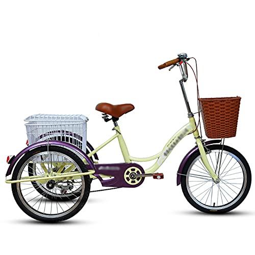 Triciclo para adultos bicicleta Triciclos Adultos 3 Bicicletas De Ruedas Con Cesta De Compras Bicicleta De Crucero De Tres Ruedas Para Recreación, Compras, Ejercicio De Picnics, Colo(Size:Cream color)