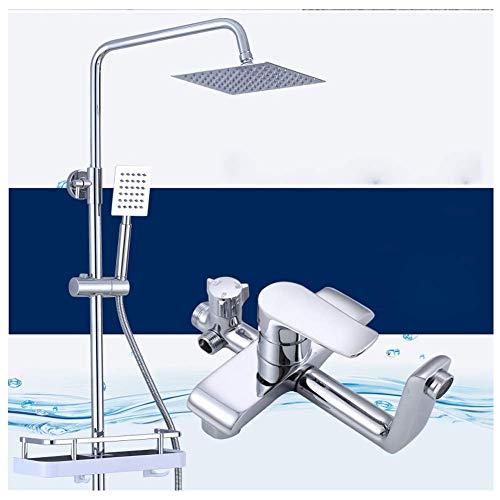 Jkckha ahorro de agua Temperatura constante Cobre Ascensor Conjunto de ducha con el estante, a presión for ahorrar agua de baño ducha de agua caliente y fría de la ducha, grifo de la ducha, gran rocia