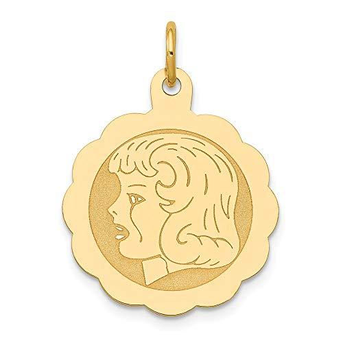Saris and Things niña de la Cabeza 14k Oro Amarillo de 0.013 Gauge engravable Festoneado Disco Charm