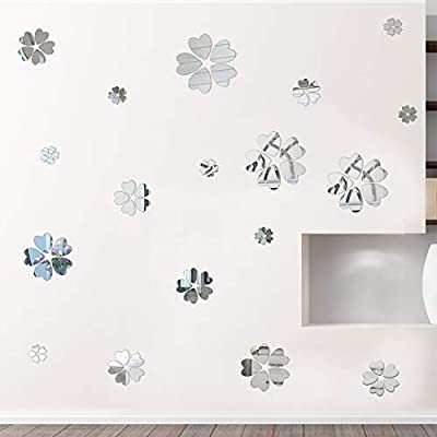 Acrylic Mirror Wall Sticker Petals Flowers Round DIY Heart-Shape Flower Mirror Surface Wall Decals 3D Removable Vinyl Art Wall Sticker for Home Decoration