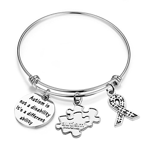 ENSIANTH Autism Awareness Bracelet Puzzle Jewellery Encouragement Gifts with Autism Charm for Autistic