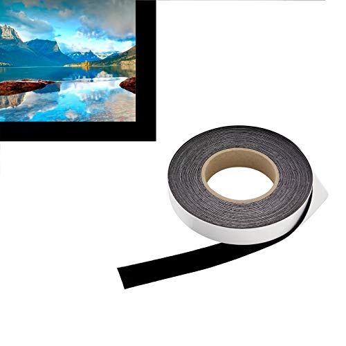 1 in x 60 ft - Vibrancy Enhancing Projector Felt Tape Border - by ConClarity – Deepest Black Ultra High Contrast Felt Tape for DIY Projector Screen Borders Absorbs Light, Brightens Image & Stops Bleed
