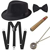 Coucoland 1920s Herren Accessoires Mafia Gatsby Kostüm Set inklusive Panama Gangster Hut...