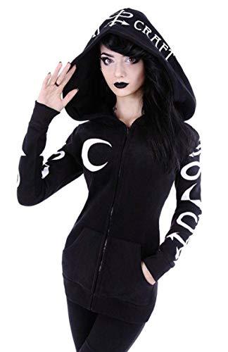 N-B Sudaderas con Capucha de Mujer gótico Punk Moon Sudaderas con Estampado de Letras Otoño Invierno Chaqueta Negra de Manga Larga con Cremallera Abrigo Casual Hoody5 XL