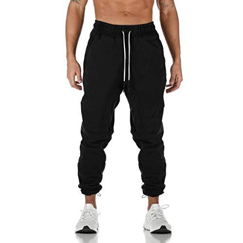 HDUFGJ Herren Hosen Sporthose Trainingshose Baumwolle Jogginghose Freizeithose mit Seitentaschen Jogginganzug Joggers StreetwearXXL(Schwarz)