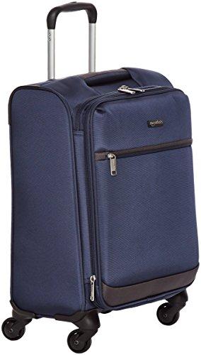 Amazon Basics - Maleta blanda con ruedas giratorias, 47 cm , para equipaje de mano, Azul marino