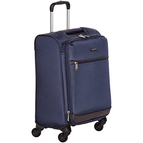 AmazonBasics - Trolley morbido con rotelle girevoli, 47 cm, dimensioni da bagaglio a mano, Blu navy