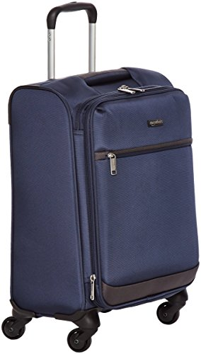 AmazonBasics Softside Carry-On Spinner Luggage Suitcase - 18.5 Inch, Navy Blue