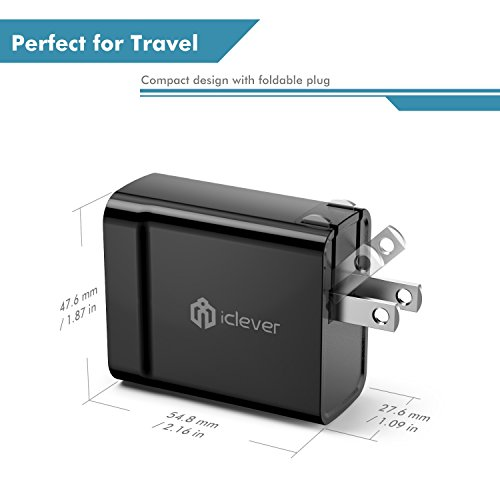 iClever BoostCube+ 24W 4.8A Dual Wall Charger with SmartID Technology, Foldable Plug, Portable Travel Adapter for iPhone X/8/7/6s, iPad Air/Mini, Black