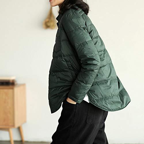 WEIYYY Otoño Invierno Mujer Abrigo de plumón con Cuello hacia Abajo Chaqueta de plumón Ultraligera del 90% as a Prueba de Viento de un Solo Pecho, Verde Oscuro, XL